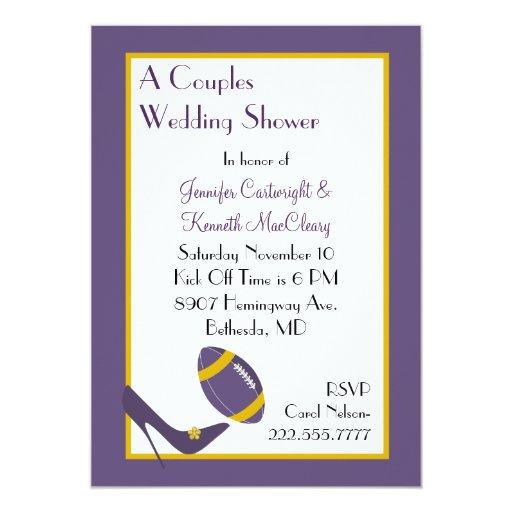 Pares púrpuras del fútbol que casan la invitación invitación 12,7 x 17,8 cm