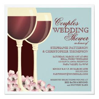 Pares que casan la invitación temática del vino de invitación 13,3 cm x 13,3cm