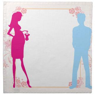 pares que cuentan con al bebé servilletas imprimidas