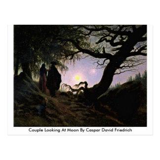 Pares que miran la luna de Caspar David Friedrich Tarjetas Postales