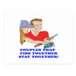 Pares que pescan juntos 2 postal