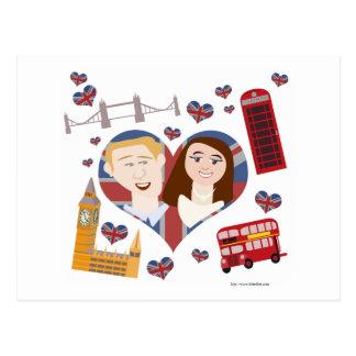 Pares reales preciosos del boda tarjetas postales