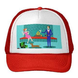 Pares retros con el gorra del camionero del perro