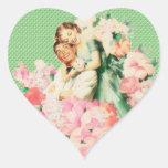 Pares retros de los años 50 calcomanía de corazón personalizadas