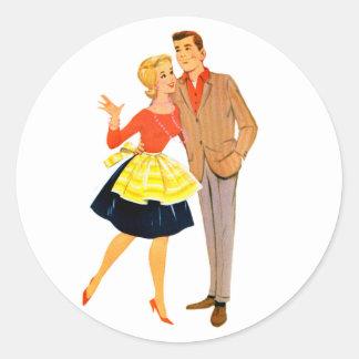 Pares retros del recién casado de la boda del pegatina redonda