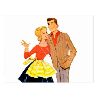 Pares retros del recién casado de la boda del postales