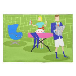 Pares retros en casa Placemat del dibujo animado Mantel