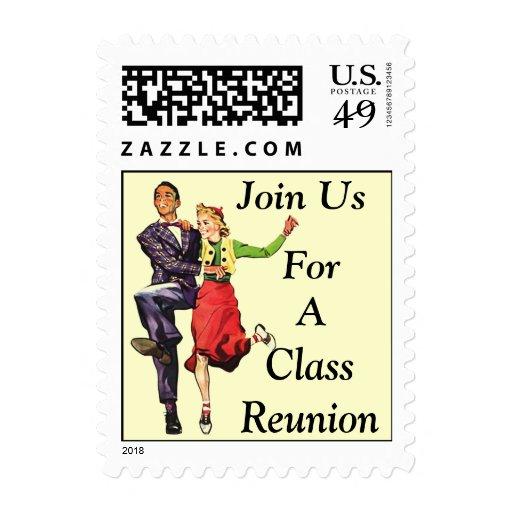 Pares retros felices de la reunión de antiguos sello postal