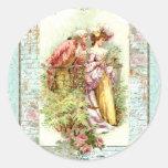 Pares románticos de la regencia del vintage con lo pegatina redonda