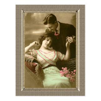 Pares románticos - dedicación de los amores postales