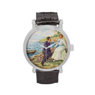 Pares románticos del ejemplo del vintage relojes de mano