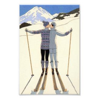 Pares románticos del esquí impresiones fotograficas