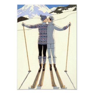 Pares románticos del esquí invitación personalizada