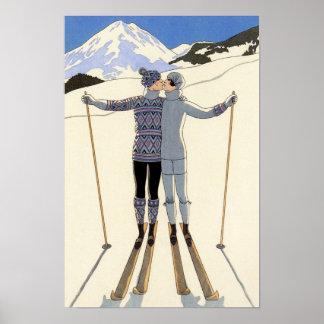 Pares románticos del esquí posters