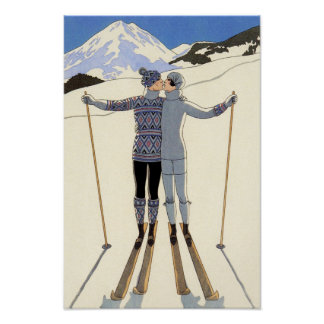 Pares románticos del esquí póster