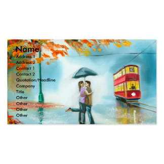 Pares románticos del paraguas rojo de la tranvía tarjetas de visita