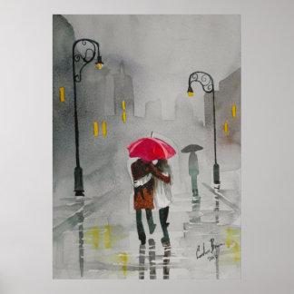 Pares románticos del paraguas rojo del otoño del d póster