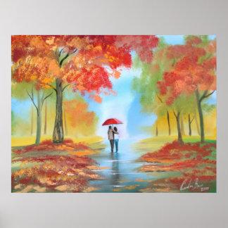 Pares románticos del paseo del día lluvioso de la  impresiones