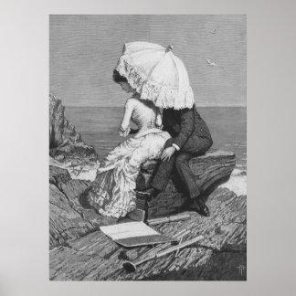 Pares románticos del Victorian del vintage por la Póster