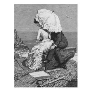 Pares románticos del Victorian del vintage por la Postales