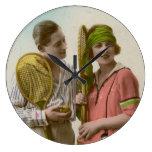 Pares románticos del vintage - fotografía reloj de pared