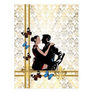 Pares románticos en el damasco blanco tarjetas postales