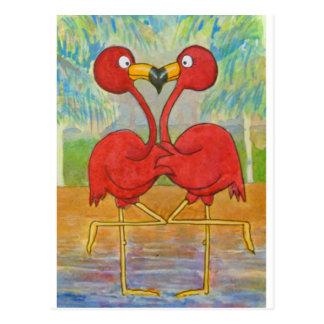 Pares rosados caprichosos del flamenco en arte de tarjeta postal