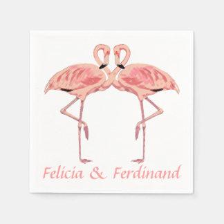 Pares rosados románticos de los flamencos servilleta desechable