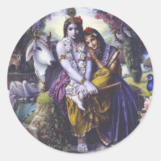 Pares Todo-Atractivos Radha Krishna Etiqueta Redonda