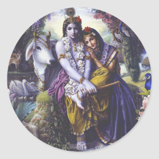 Pares Todo-Atractivos Radha Krishna Pegatina Redonda