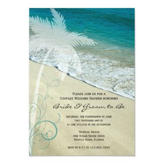 """Pares tropicales de la playa que casan la invitación 5"""" x 7"""""""