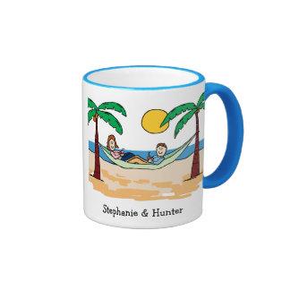 Pares Vacationing - azul Tazas De Café
