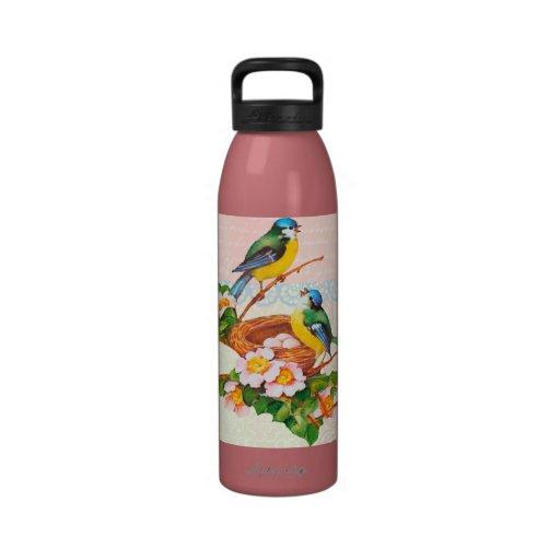 Pares y jerarquía lindos del pájaro del vintage de botella de agua