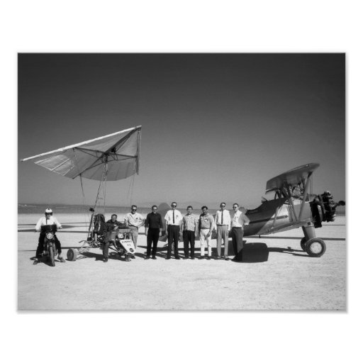 Paresev 1-A and Tow Plane with Crew and Pilot Poster