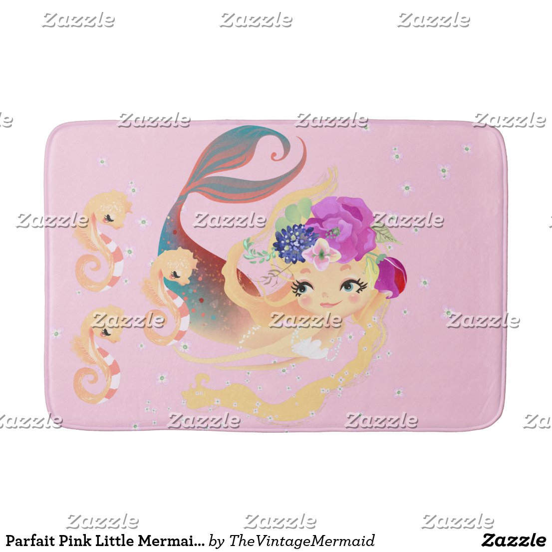 Parfait Pink Little Mermaid Bath Mat Baby Seahorse