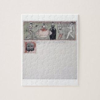 'Parfois il m'arrive' (ink and w/c on paper) Jigsaw Puzzle