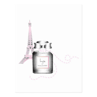 Parfum Bottle with Eiffel Tower and Rope Postcard