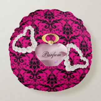 Parfum & Pearls Pink Damask Round Pillow