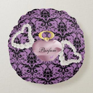 Parfum & Pearls Purple Damask Round Pillow
