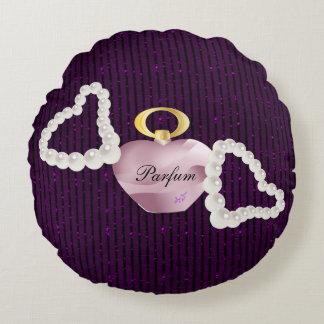 Parfum & Pearls Purple Glitter Stripe Round Pillow