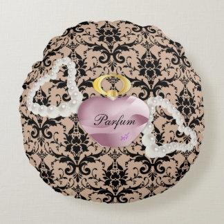 Parfum & Pearls Taupe Damask Round Pillow