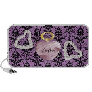 Parfum y perlas púrpuras y altavoz del damasco