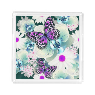 Parfume/Vanity Trays-Butterflies and Flowers Acrylic Tray