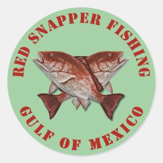 Pargo rojo que pesca el Golfo de México Pegatina Redonda