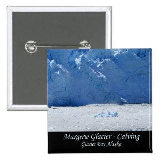 Parida del glaciar de Margerie/Glacier Bay Alaska Pin Cuadrado