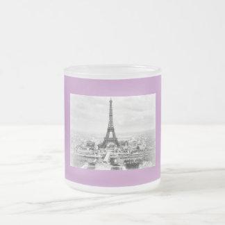 Paris 1889 10 oz frosted glass coffee mug