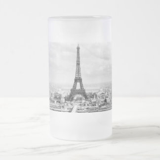 Paris 1889 frosted glass beer mug