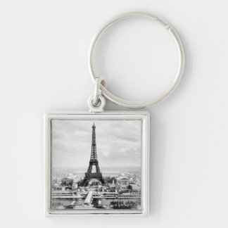Paris 1889 Silver-Colored square keychain