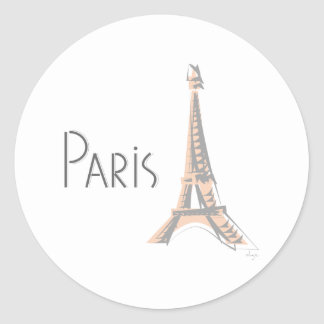 PARIS Abstract Grey Eiffel Tower Classic Round Sticker