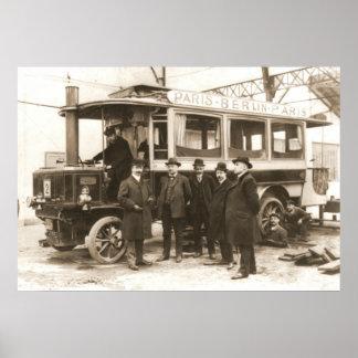 París al Omnibus 1900 del vapor de Berlín Póster
